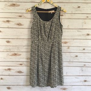 Ann Taylor LOFT Black White Polka Dot Dress Size 4
